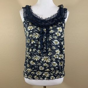 American Rag Floral Tank Top Lace Blue White